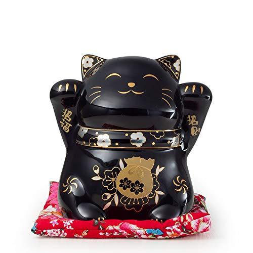 Maneki Neko Porcelana Gato de la Suerte Afortunado Gato Caja de Dinero Lucky Bendición Lucky Cat Piggy Bank Pequeño 12x12x14CM(4.72x4.72x5.51Inch),Negro,L