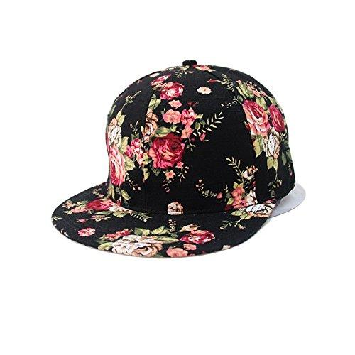 46809b143ed Glamorstar Women s Floral Flower Snapback Hip-Hop Cap Baseball Hat Headwear