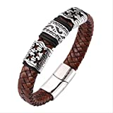 NoNo Vintage Brown Braided Leather Bracelet with Zircon Stainless Steel Magnetic Clasp Men Punk Bangles Jewelry Inner Perimeter175Mm Steel Color Buckle