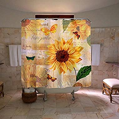 Colorful Star Sunflowers Design Shower Curtain,Waterproof&Antibacterial&Eco-Friendly made of 100% Polyester Fabric,Non Toxic, Odor Free, Rust Proof Grommets 60 x72
