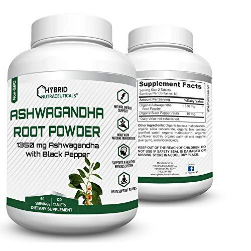 Organic Ashwagandha Tablets, Thyroid Support, Adrenal Fatigue, Anti Anxiety, Reduce Stress, Reduce Depression - 120 Ashwaganda Powder Tablets (1350 mg/Serving)