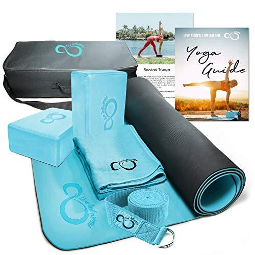 Live Infinitely Complete 6 Piece Yoga Set 6mm Dual Layer NonSlip TPE Yoga Mat 2 EVA Foam Blocks 9' Cotton Strap Mat Sized Exercise Towel amp Carrying Case Perfect Kit for Any Yogi Teal