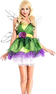 Xyfw Disfraz De Princesa De Hadas De Flores De Duende Verde Bosque De Niña Mujer con Accesorios De Vestido De Fiesta De Na...