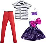 Barbie Fashion Pack with 1 Outfit 1 Accessory Doll, Purple Dress with Bow, 1 Each for Ken Doll, Polka Dot with Bow Tie, Gift for 3 to 8 Year Olds