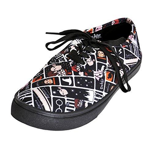 HARRY POTTER Damas Zapatilla de Deporte de los Zapatos de Estilo de Chibi Negro - 44
