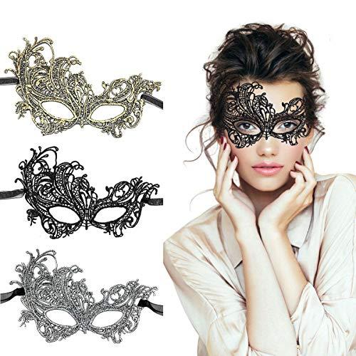 LADES Masquerade Maske - Sexy Spitze Venezianische Augenmaske Lace Masken Damen Maske für Maskenball Halloween Karneval Maskentanzabend Party