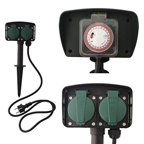 Megaprom 2-Fach 1,5m Gartensteckdose mit Zeitschaltuhr | IP44 Steckdose | Steckdosenleiste | Steckerleiste | Außensteckdose mit Erdspieß