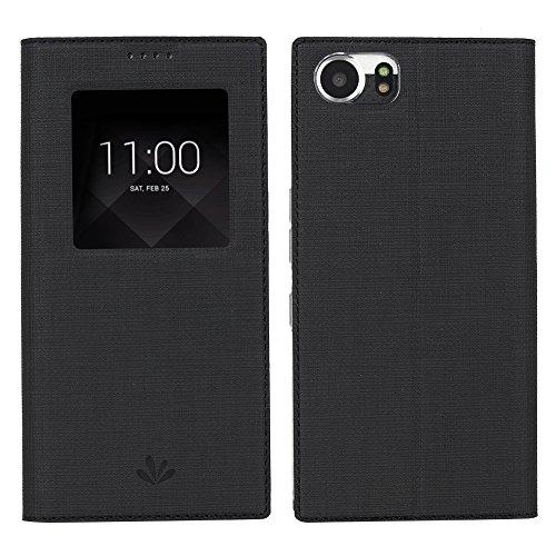 Feitenn Schutzhülle für BlackBerry Keyone Mercury DTEK70, PU-Leder, mit Sichtfenster, Sleep- / Wakeup-Funktion, Standfunktion, Magnetverschluss, schlankes Design, aus TPU, Schwarz