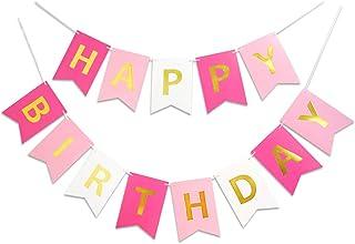 تابلوهای تولدت مبارک Roseo Pink Sparkle Golden Sparkle خنده دار لوازم جشن تولد برای تزیینات جشن تولد جشن تولد کودک مهد کودک تزئینات تزئین شده 13 قطعه