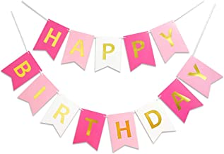 Roseo Pink Happy Birthday Banner Signs Golden Sparkle Funny Birthday Party Supplies for Girls Birthday Party Birthday Deco...