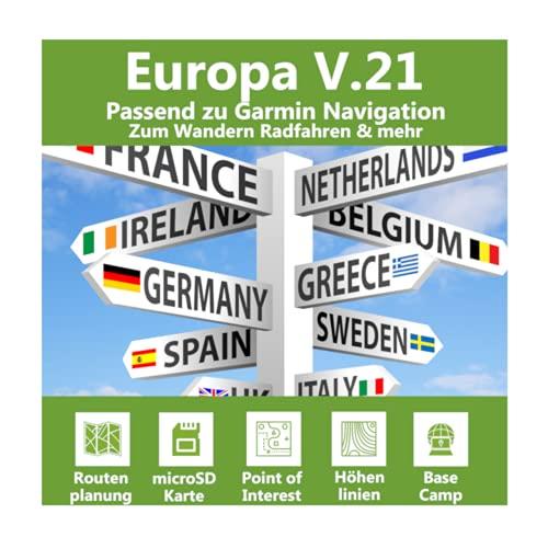 Europa V.21 - Profi Outdoor Topo Karte passend für Garmin Edge 520, Edge 605, Edge 705, Edge 800, Edge 810, Edge 820, Edge 830