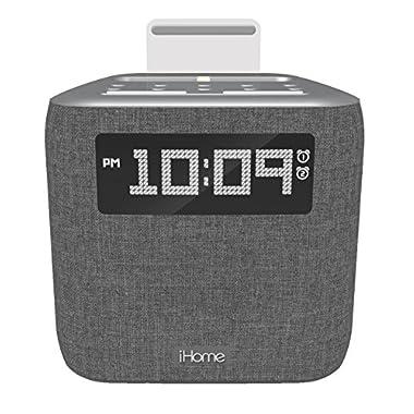 iHome iPL8XHG Dual Alarm FM Clock Radio with Lightning Dock for iPhone with USB Charging