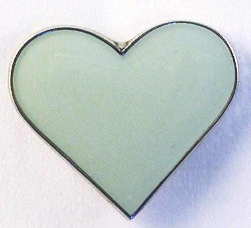 Broche en métal émaillé acrylique gris argent (coeur)