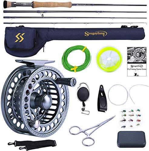 Sougayilang Combo de caña de pescar y carrete, 4 piezas ultra peso portátil Fly Rod y carrete de aluminio mecanizado CNC, paquete completo de iniciación con bolsa de caña-7/8