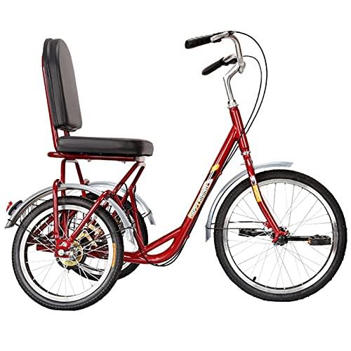 ZNND Bicicletas reclinadas Triciclos para Adultos, Bicicletas De 3 Ruedas 20 Pulgadas Triciclos De Una Sola Velocidad con Cesta De Compra para Personas Mayores, Mujeres, Hombres