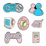 CheeseandU 7Pack Cute Cartoon Video Gaming Enamel Pins Set Pink Video Gaming Controller Brooches for Denim Shirt Bag Cartoon Creative Punk Jewelry Gift for Kids Girls