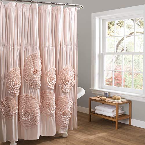 Lush Decor Blush Serena Shower Curtain Ruffled Floral Shabby Chic Farmhouse Style Bathroom Decor x 72