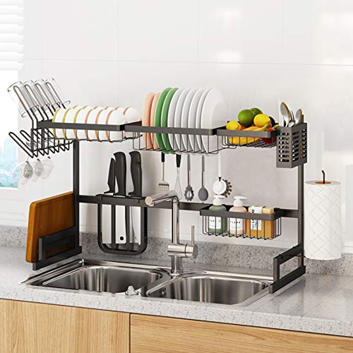 33'-41' Dish Drying Rack Over The Sink Length Adjustable, Stainless Steel Large 2-Tier Dish Strainers Utensils Holder, Kitchenware Organizer Space Saver Shelf Holder