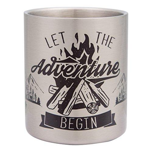 LET The Adventure Begin - Hochwertige Edelstahltasse im Outdoor und Berg Design, ideal für Wandern, Trekking - bruchsicher und leicht, doppelwandige Isolation - von tassenWERK.com