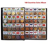 180 Countries Coins Collection Starter Kit / 100% Original Genuine/World Coin with Leather Collecting Album Taged by Country Name and Flags/Coin Holder Collection Storage Classic Gifts