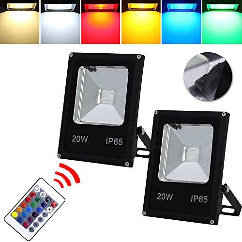 HG® 2X 20W RGB LED Fluter Außen Strahler Scheinwerfer mit Fernbedienung 16 Farben 4 Modi Garten Deko Auffahrt Garage Beleuchtung Outdoor Licht Stimmungslichter IP65