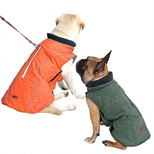 Hundemantel Winter Warme Jacke Weste, 7 Größen für Kleine Mittlere Große und Riesige Hunde, Winddicht Schneeanzug Hundekleidung Outfit Weste Haustiere Bekleidung (L, GRÜN)