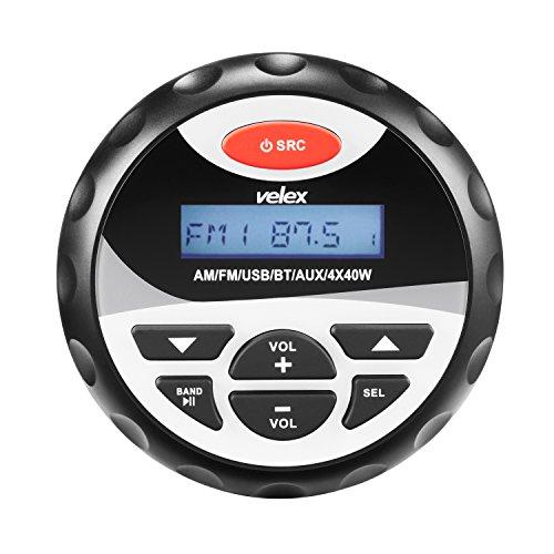 Velex - Reproductor multimedia digital, con resistencia a la intemperie y compatibilidad con MP3, WMA, USB, AM-FM y conexión Bluetooth