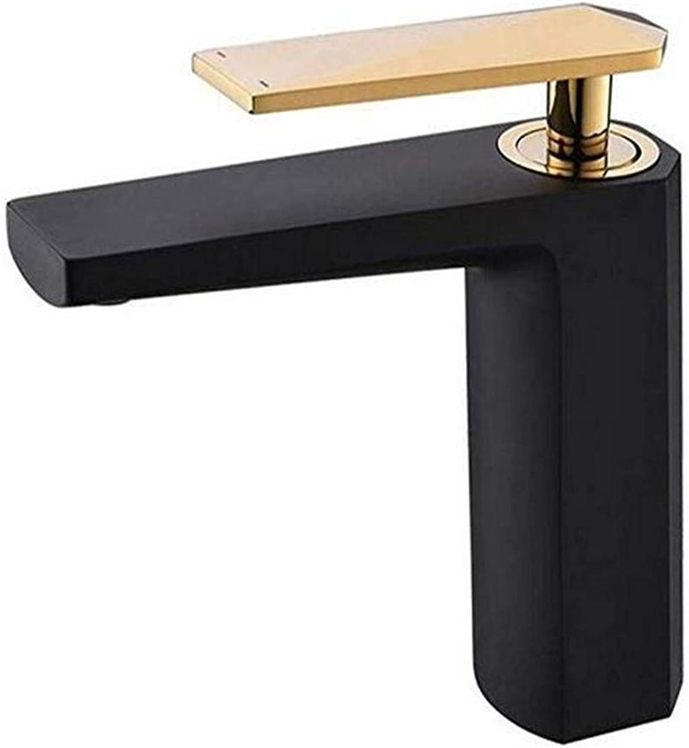 Sink Faucet Bathroom Sink Faucet Bathroom Cabinet Hot and Cold Sink Faucet Black Frosted Single Hole Sink Faucet Copper