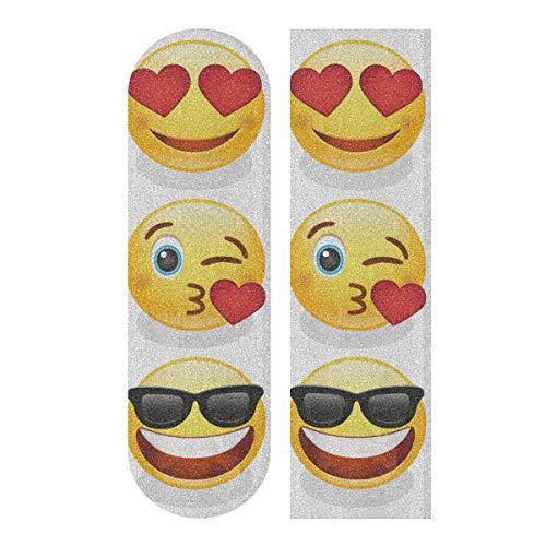 LMFshop 33,1x9,1 Zoll Sport im Freien farbige Skateboard Grip Tape Smiley Design Kunstdruck wasserdicht Longboard Sandpapier für Tanzbrett Double Rocker Board Deck 1 Blatt