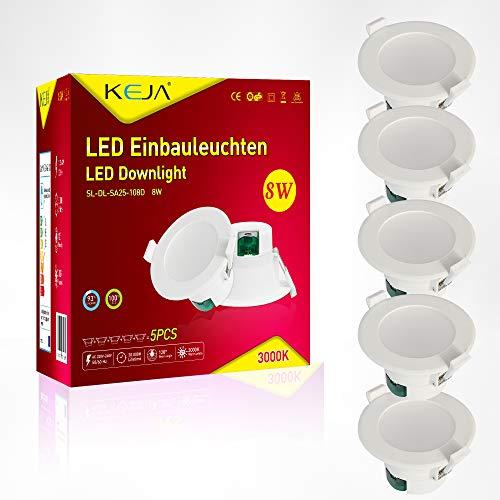 LED Einbauleuchten IP44 Farbe Weiss 5 x 8Watt 230 Volt 720lm Warmweiss LED Einbaustrahler LED Spots