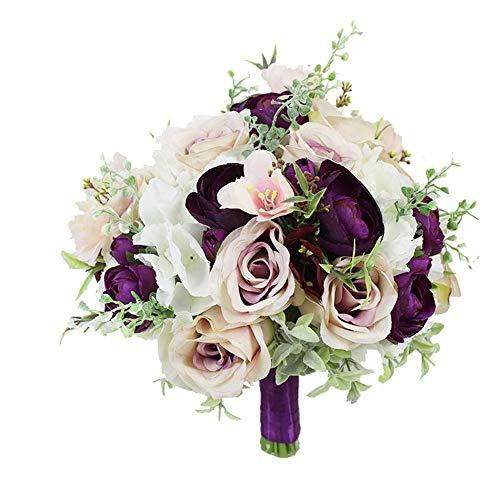 Cxraiy-HO Bouquet da Sposa Bouquet da Sposa, Bouquet di Spilla Nuziale Artificiale, Matrimonio Romantico in Raso Rosa Vintage Stile Rustico Fatto a Mano Bouquet da Sposa Artificiale