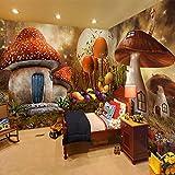 Fotomurales Casa de setas de dibujos animados 300x210 cm - 6 Strips Papel tapiz 3D Papel pintado tejido no tejido Decoración De Pared Sala Cuarto Oficina Salón