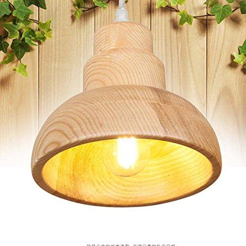 Maniny Creative Wood Lampe Pendentif Salle à Manger Chambre Post-Modern Simple Carpenter Feux à la Main en Bois Plafonnier Lampe Fini, Largeur de la Lampe 17Cm, 15Cm Haute