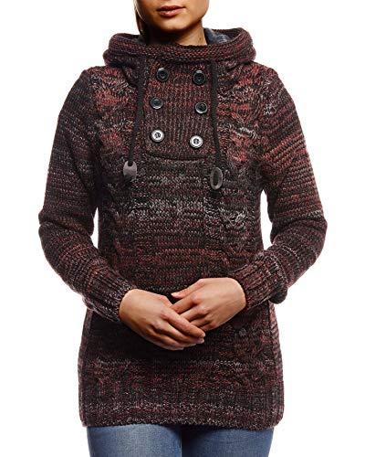 Leif Nelson LN20227D - Pullover da donna con cappuccio, slim fit, a maniche lunghe, colore: nero, Colore: rosso, L