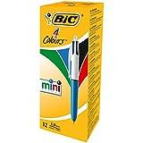 Bic4 Colours Mini Penna a Scatto, Punta Media 1,0 mm, Formato Pocket 4 Colori di Inchiostro in una Penna, Confezione da 12