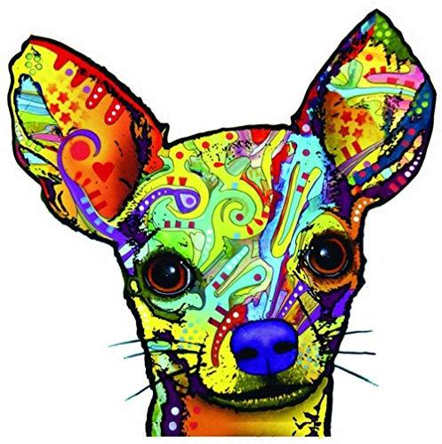 MOLDK Pegatinas de Coche Arte Etiqueta engomada del Coche Lindo Chihuahua Coche Motocicleta Cuaderno Nevera Decoración Etiqueta engomada del PVC Rasguño 14Cm * 14Cm