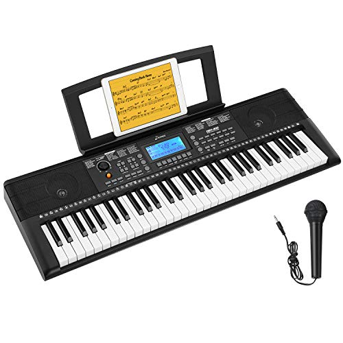 Donner DEK-610 61 Keys Electronic Keyboard Portable Electric Music Keyboard Piano with Full-Size Keys for Beginners, Include a Music Stand and Microphone