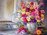 Pintura al óleo por números flores pintura a mano DIY para colorear por números florero de dibujos animados lienzo juego de pared arte decoración del hogar C2 40x50cm
