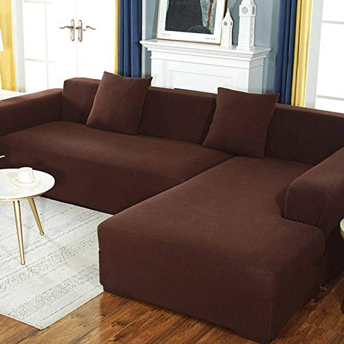 GOPG Funda de sofá Impermeable, Antideslizante, Resistente a los arañazos, protección para Muebles, sofá, Cubierta para niños, Perros, Gatos, Mascotas, sofá esquinero, marrón, 4 Sitzer (235-300cm)