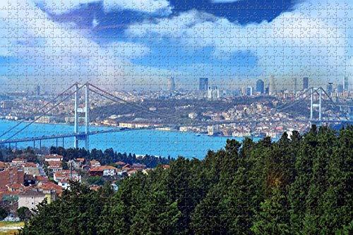 Rompecabezas para Adultos, Puente de Estambul, Turquía, Rompecabezas de 1000 Piezas, Regalo de Recuerdo de Viaje de Madera