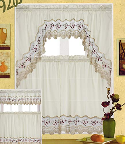 EliteHomeProducts EHP 3 Piece Embroidery Kitchen Curtain Window Treatment Set, 1 Valance & 2 Tiers (Burgundy Flowers)