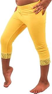 Vivian's Fashions Capri Leggings - Girls, Cotton, Lace Trim