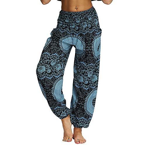 Nuofengkudu Damen Hippie Haremshosen mit Taschen Leichte Boho Muster Bunt High Waist Yogahosen Sommer Lockere Hosen Freizeithose (Blau B,One Size)
