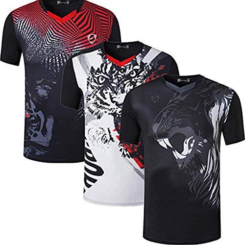 jeansian Uomo 3 Confezioni Sport Asciugatura Veloce Maniche Corte Maglietta A Compressione Tee LSL253 254 264 Black L