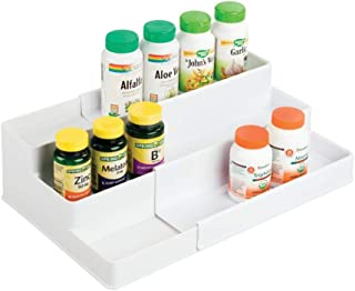 mDesign Adjustable, Expandable Plastic Vitamin Rack Storage Organizer Tray for Bathroom Vanity, Countertop, Cabinet - 3 Shelves - Holds Supplements, Medication - White