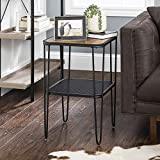 Walker Edison Mid Century Hairpin Metal Frame Square Modern Side Accent Table Living Room Storage Small End Table, 16 Inch, Rustic Oak