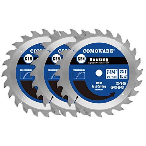 COMOWARE Circular Saw Blade Set 7-1/4 Inch 24T ATB Premium Tip, 5/8inch Arbor Decking Light Contractor and DIY for Wood, Wood Composites, Laminate, Veneered Plywood & Hardwoods, 3 Pack