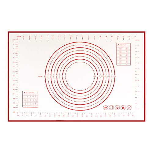 Durusilya Silicone Baking Mat large 24' x 16' with Measurements for Pastry Rolling, Dough Rolling Reusable Non Stick