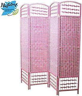 Biombo Separador de Ambientes, Economico, 4 Paneles, en Bambú Natural, Color Fucsia y Rayas Blancas. 180x160 cm - Hogar y Más