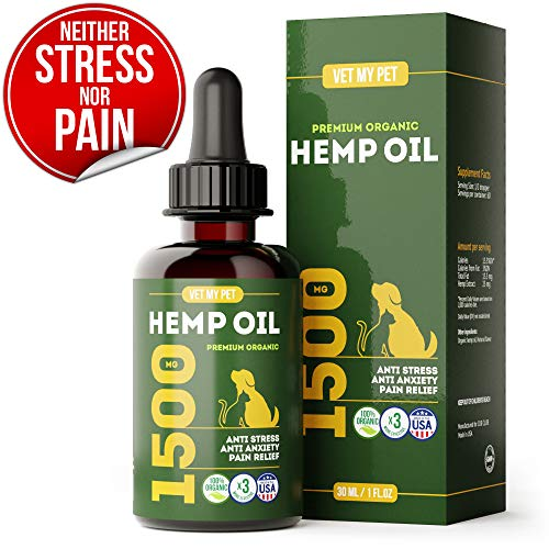 Hemp Oil for Dogs and Cats - Provides Dog Anxiety Relief - Includes Omega 3,6,9 and Vitamin C, E (3-in-1) - 1500mg - US Made - Reduces Travel and Vet Stress